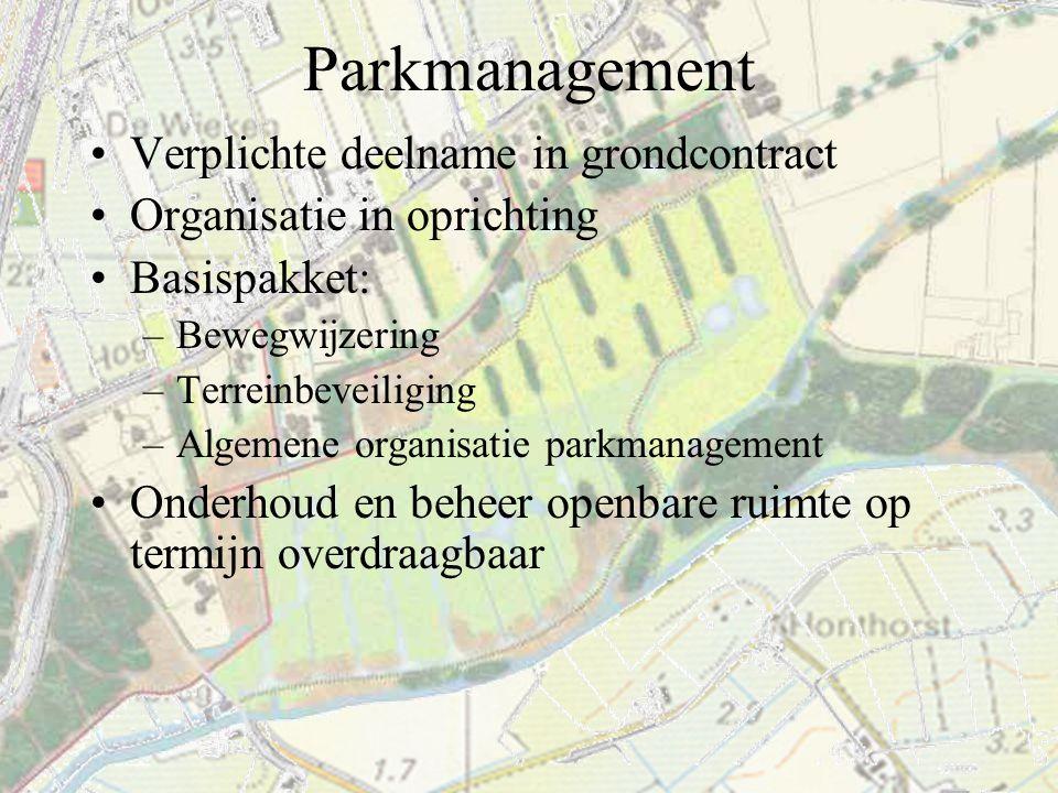 Parkmanagement Verplichte deelname in grondcontract Organisatie in oprichting Basispakket: –Bewegwijzering –Terreinbeveiliging –Algemene organisatie p