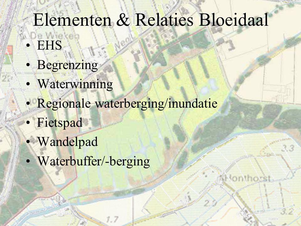 Elementen & Relaties Bloeidaal EHS Begrenzing Waterwinning Regionale waterberging/inundatie Fietspad Wandelpad Waterbuffer/-berging
