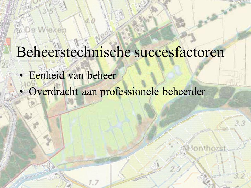 Beheerstechnische succesfactoren Eenheid van beheer Overdracht aan professionele beheerder