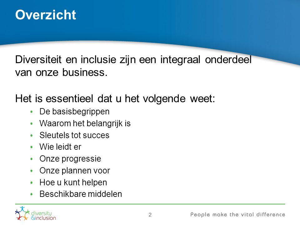 22 Overzicht Diversiteit en inclusie zijn een integraal onderdeel van onze business.