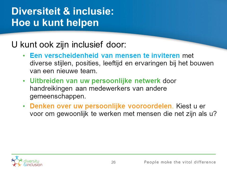 26 Diversiteit & inclusie: Hoe u kunt helpen 26 U kunt ook zijn inclusief door: Een verscheidenheid van mensen te inviteren met diverse stijlen, posit