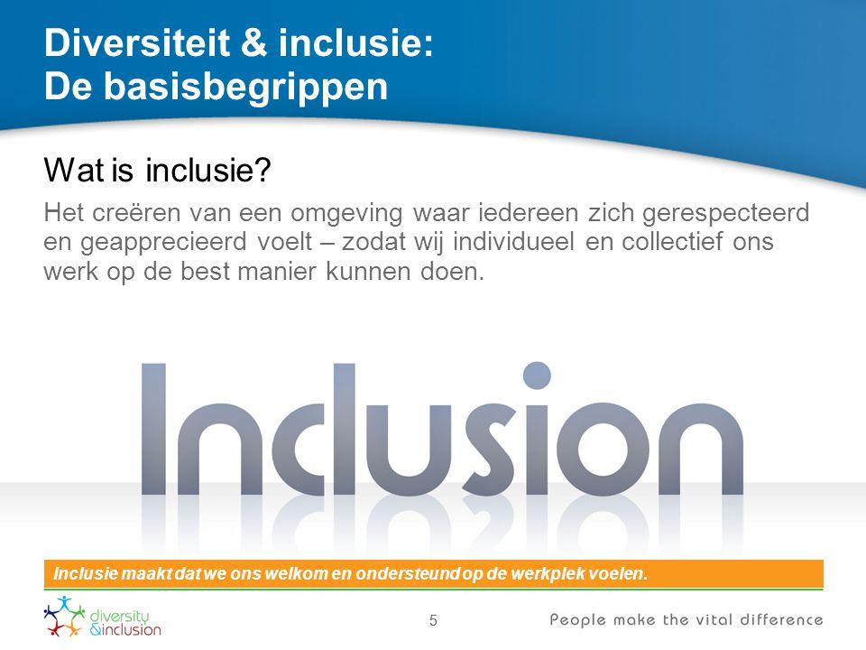 55 Diversiteit & inclusie: De basisbegrippen Wat is inclusie? Het creëren van een omgeving waar iedereen zich gerespecteerd en geapprecieerd voelt – z