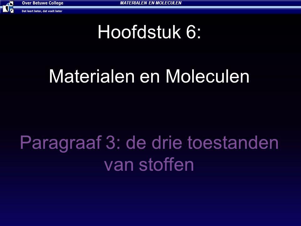 Hoofdstuk 6: Materialen en Moleculen Paragraaf 3: de drie toestanden van stoffen MATERIALEN EN MOLECULEN