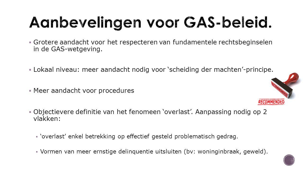 Grotere aandacht voor het respecteren van fundamentele rechtsbeginselen in de GAS-wetgeving.