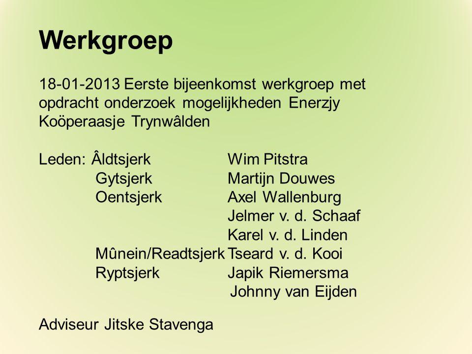 Werkgroep 18-01-2013 Eerste bijeenkomst werkgroep met opdracht onderzoek mogelijkheden Enerzjy Koöperaasje Trynwâlden Leden: ÂldtsjerkWim Pitstra GytsjerkMartijn Douwes Oentsjerk Axel Wallenburg Jelmer v.