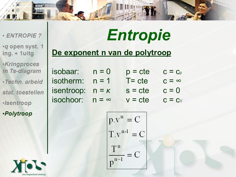 De exponent n van de polytroop isobaar: n = 0 p = cte c = c p isotherm: n = 1 T= cte c = ∞ isentroop: n = κ s = cte c = 0 isochoor: n = ∞ v = cte c =
