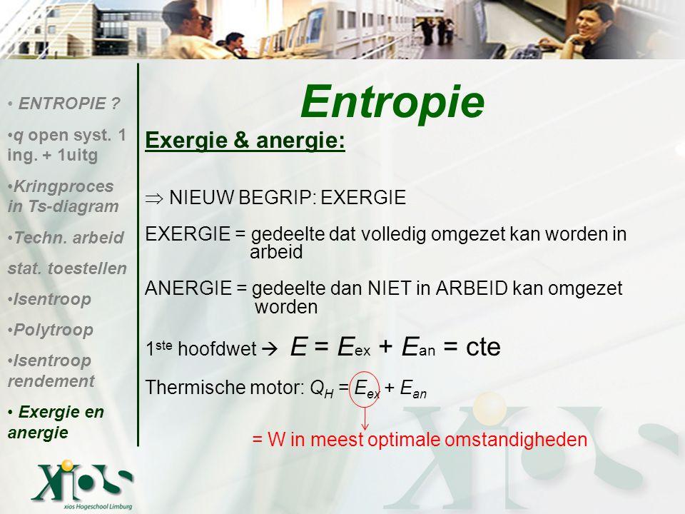 Exergie & anergie:  NIEUW BEGRIP: EXERGIE EXERGIE = gedeelte dat volledig omgezet kan worden in arbeid ANERGIE = gedeelte dan NIET in ARBEID kan omge