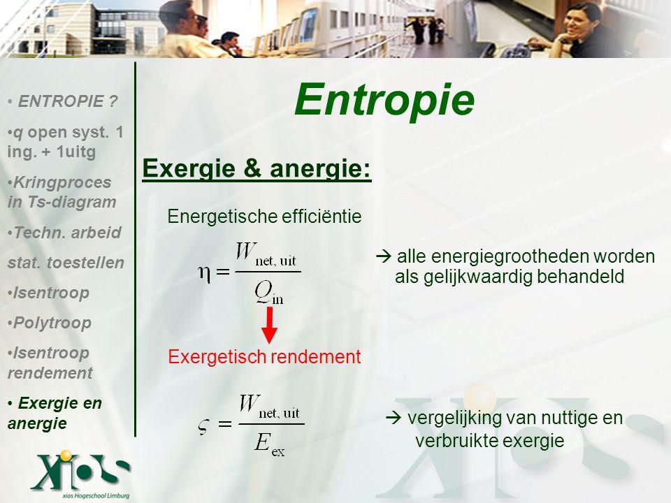 Exergie & anergie: Energetische efficiëntie  alle energiegrootheden worden als gelijkwaardig behandeld Exergetisch rendement  vergelijking van nutti