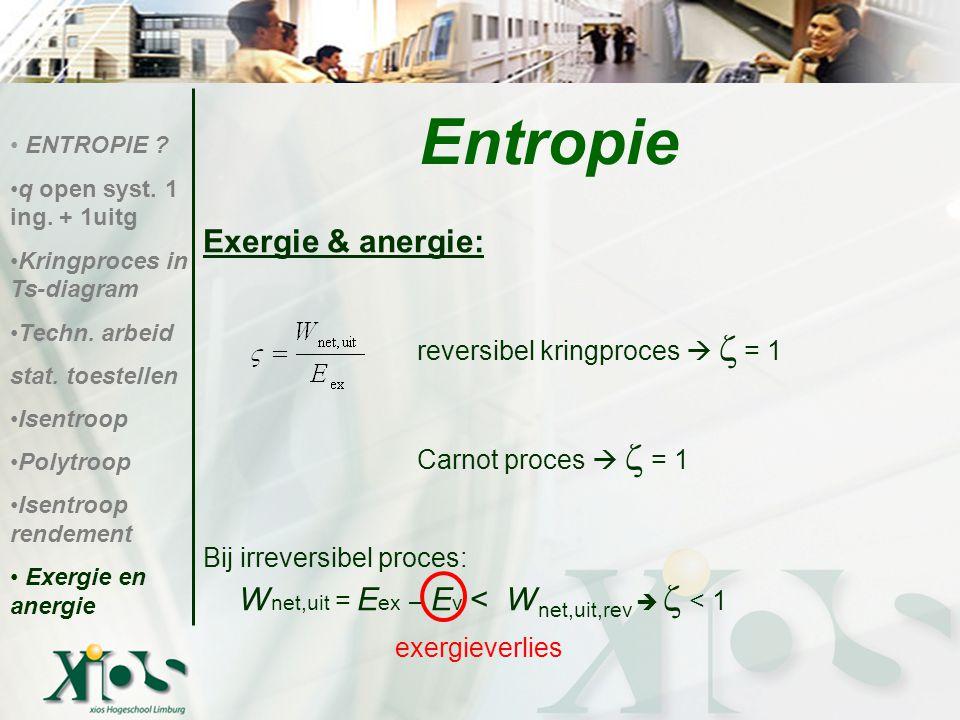 Exergie & anergie: reversibel kringproces   = 1 Carnot proces   = 1 Bij irreversibel proces: W net,uit = E ex – E v < W net,uit,rev   < 1 exergi