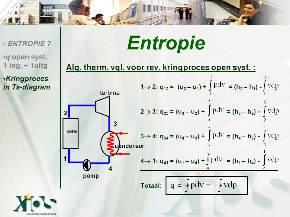 Volumearbeid en technische arbeid isentroop lucht: κ = 1,400 c p c p = 1,005 Oplossing: w t = 1,005 kJ/kg.K (300-650)K = -352 kJ/kg ENTROPIE .