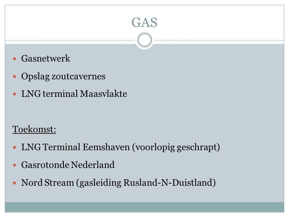 GAS Gasnetwerk Opslag zoutcavernes LNG terminal Maasvlakte Toekomst: LNG Terminal Eemshaven (voorlopig geschrapt) Gasrotonde Nederland Nord Stream (gasleiding Rusland-N-Duistland)