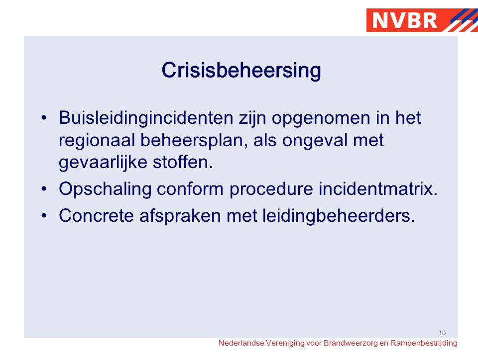 Nederlandse Vereniging voor Brandweerzorg en Rampenbestrijding Crisisbeheersing Buisleidingincidenten zijn opgenomen in het regionaal beheersplan, als