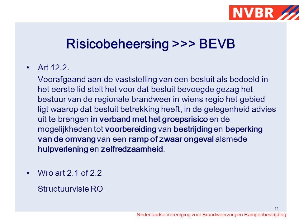 Nederlandse Vereniging voor Brandweerzorg en Rampenbestrijding Risicobeheersing >>> BEVB Art 12.2.