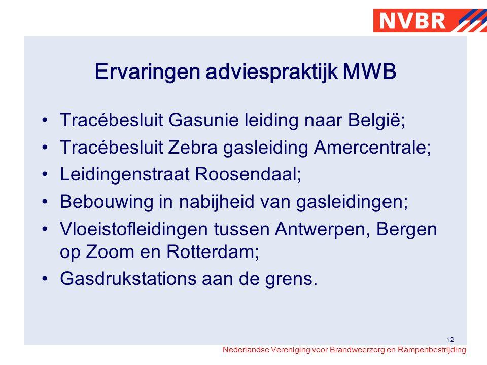 Nederlandse Vereniging voor Brandweerzorg en Rampenbestrijding Ervaringen adviespraktijk MWB Tracébesluit Gasunie leiding naar België; Tracébesluit Ze