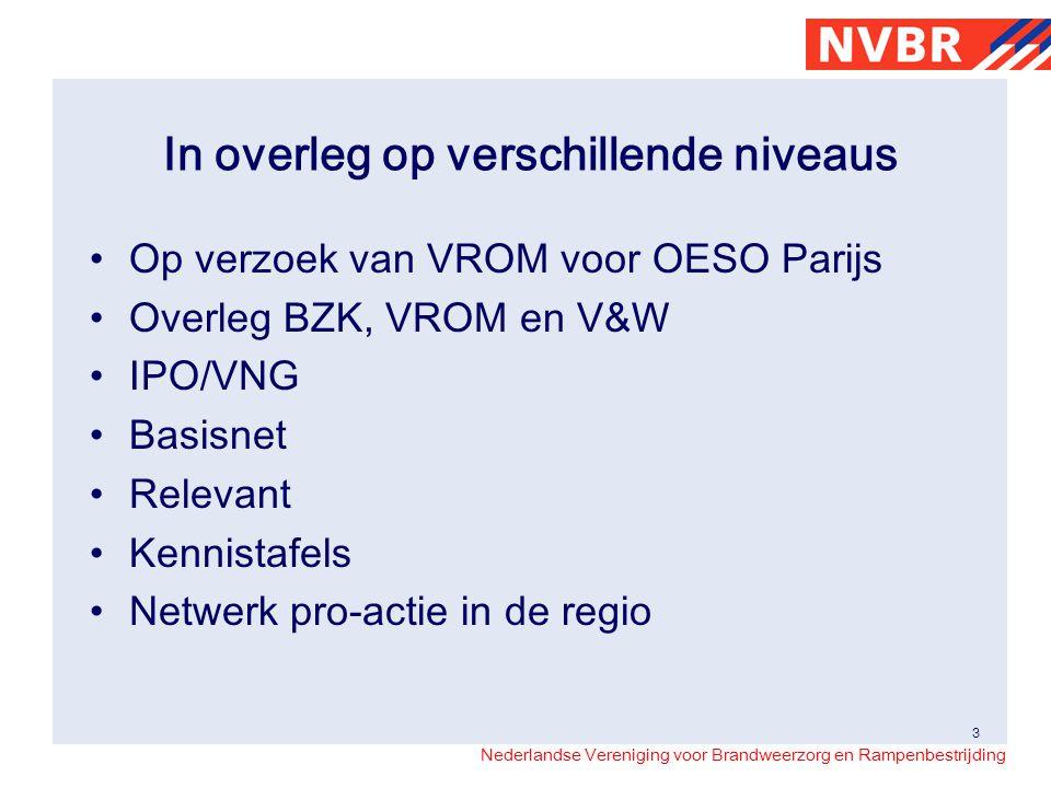 Nederlandse Vereniging voor Brandweerzorg en Rampenbestrijding In overleg op verschillende niveaus Op verzoek van VROM voor OESO Parijs Overleg BZK, V