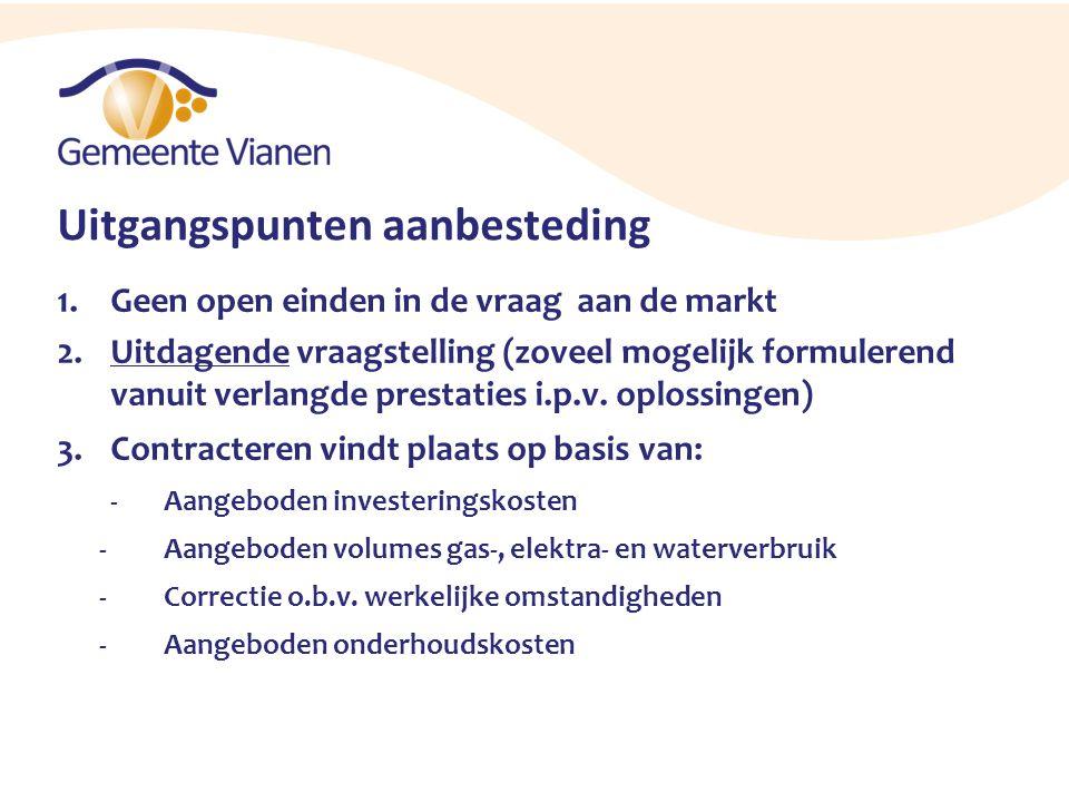 Uitgangspunten aanbesteding 1.Geen open einden in de vraag aan de markt 2.Uitdagende vraagstelling (zoveel mogelijk formulerend vanuit verlangde prest