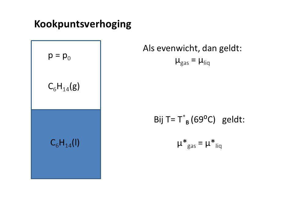 Kookpuntsverhoging p = p 0 C 6 H 14 (g) C 6 H 14 (l) Als evenwicht, dan geldt: µ gas = µ liq Bij T= T * B (69⁰C) geldt: µ* gas = µ* liq