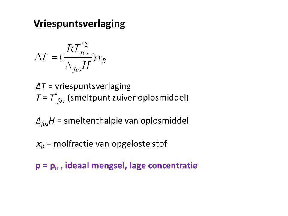 Vriespuntsverlaging ∆T = vriespuntsverlaging T = T * fus (smeltpunt zuiver oplosmiddel) ∆ fus H = smeltenthalpie van oplosmiddel x B = molfractie van