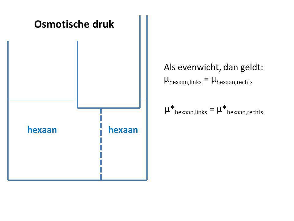 Osmotische druk hexaan Als evenwicht, dan geldt: µ hexaan,links = µ hexaan,rechts µ* hexaan,links = µ* hexaan,rechts