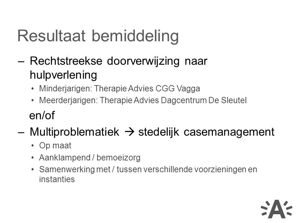 –Rechtstreekse doorverwijzing naar hulpverlening Minderjarigen: Therapie Advies CGG Vagga Meerderjarigen: Therapie Advies Dagcentrum De Sleutel en/of