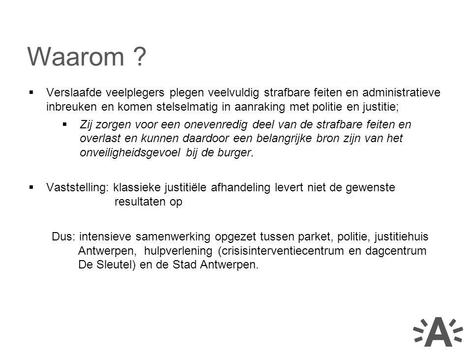 –Alle meerderjarige veelplegers: grondgebied politiezone Antwerpen; misdrijf waarvoor de wet gevangenisstraf van minstens 1 jaar voorziet; én verslavingsproblematiek.