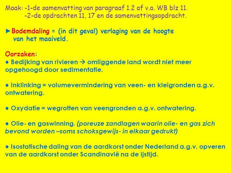 Maak: -1-de samenvatting van paragraaf 1.2 af v.a. WB blz 11. -2-de opdrachten 11, 17 en de samenvattingsopdracht. ► Bodemdaling = (in dit geval) verl