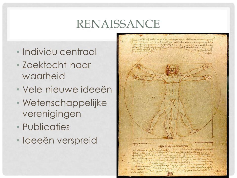 RENAISSANCE Individu centraal Zoektocht naar waarheid Vele nieuwe ideeën Wetenschappelijke verenigingen Publicaties Ideeën verspreid