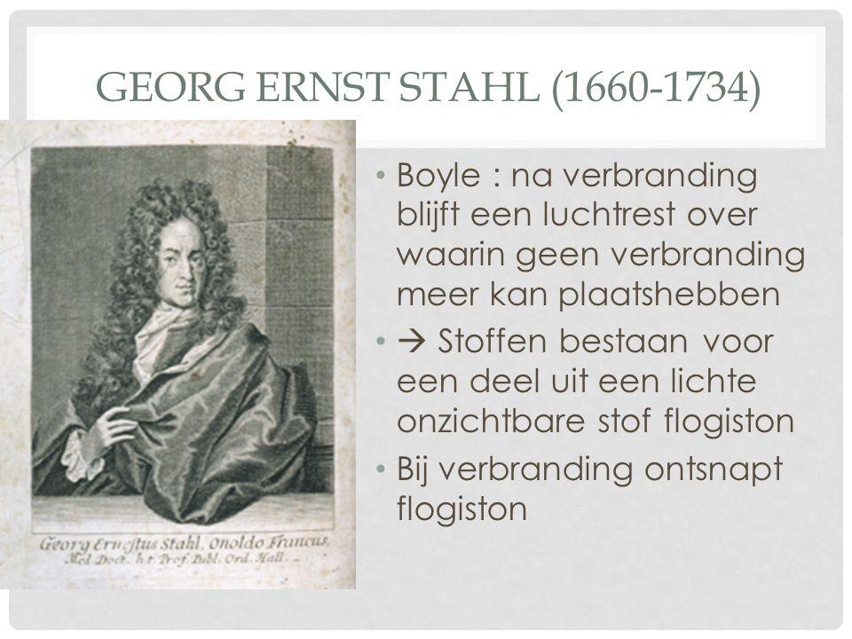 GEORG ERNST STAHL (1660-1734) Boyle : na verbranding blijft een luchtrest over waarin geen verbranding meer kan plaatshebben  Stoffen bestaan voor ee