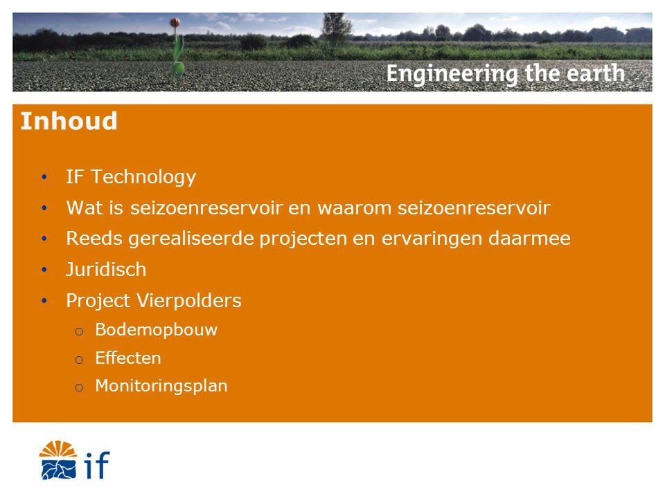 Inhoud IF Technology Wat is seizoenreservoir en waarom seizoenreservoir Reeds gerealiseerde projecten en ervaringen daarmee Juridisch Project Vierpold