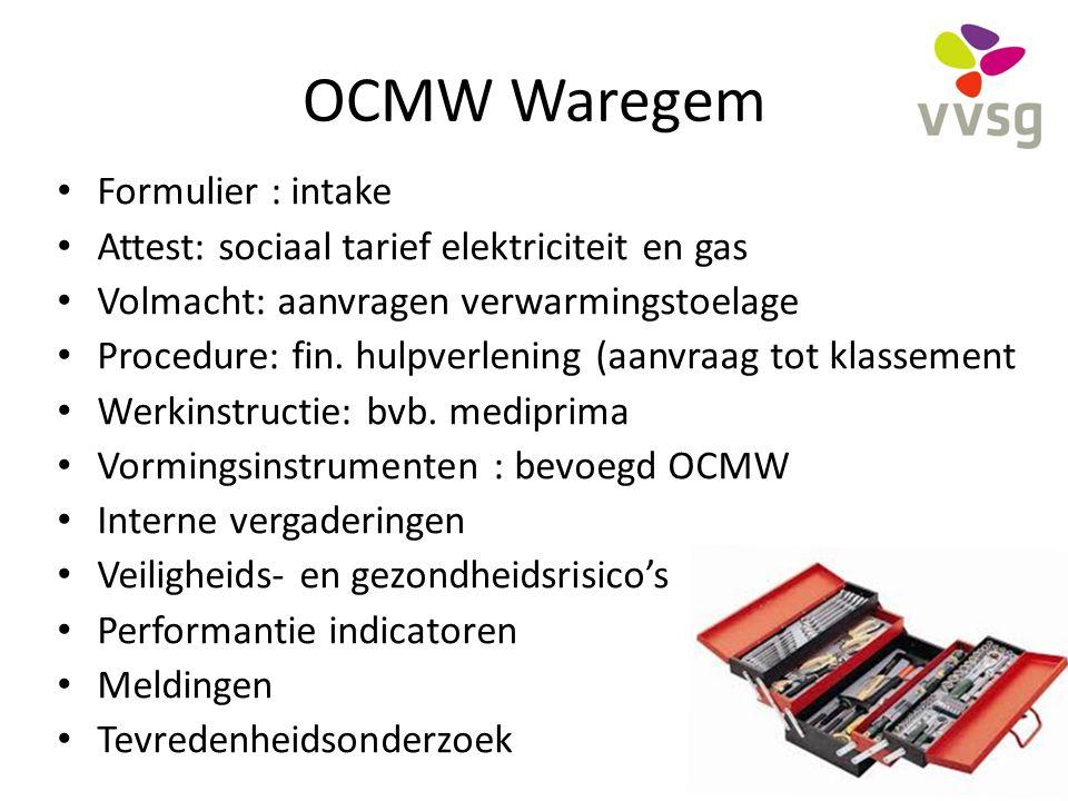 OCMW Waregem Formulier : intake Attest: sociaal tarief elektriciteit en gas Volmacht: aanvragen verwarmingstoelage Procedure: fin. hulpverlening (aanv