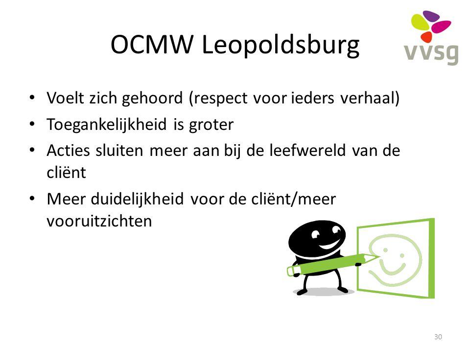OCMW Leopoldsburg Voelt zich gehoord (respect voor ieders verhaal) Toegankelijkheid is groter Acties sluiten meer aan bij de leefwereld van de cliënt