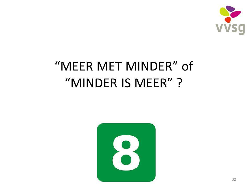 """""""MEER MET MINDER"""" of """"MINDER IS MEER"""" ? 32"""