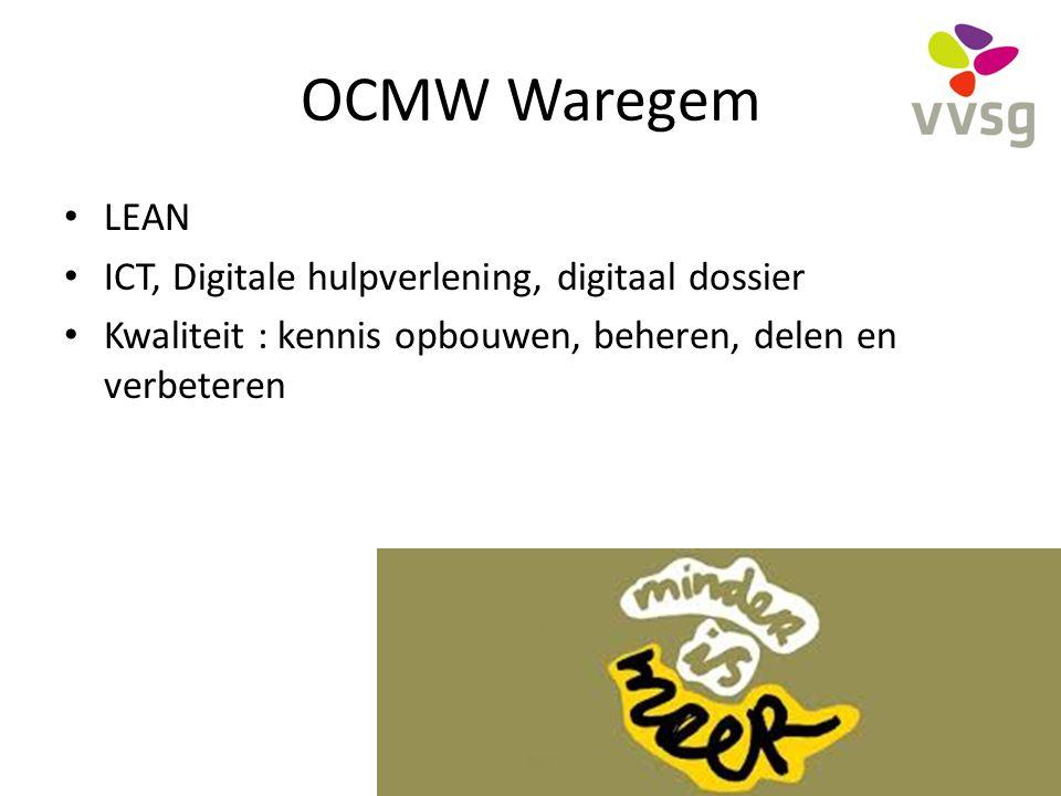 OCMW Waregem LEAN ICT, Digitale hulpverlening, digitaal dossier Kwaliteit : kennis opbouwen, beheren, delen en verbeteren 34