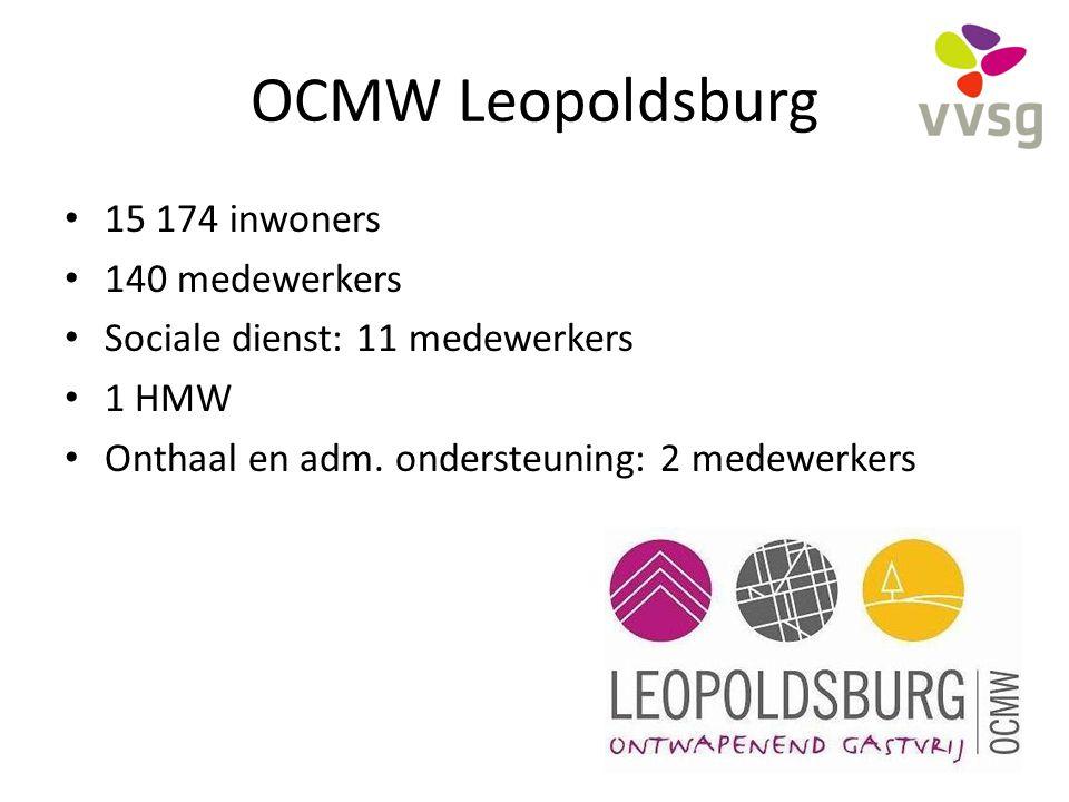 OCMW Leopoldsburg 15 174 inwoners 140 medewerkers Sociale dienst: 11 medewerkers 1 HMW Onthaal en adm. ondersteuning: 2 medewerkers 4
