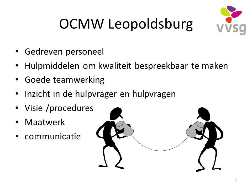 OCMW Leopoldsburg Gedreven personeel Hulpmiddelen om kwaliteit bespreekbaar te maken Goede teamwerking Inzicht in de hulpvrager en hulpvragen Visie /p