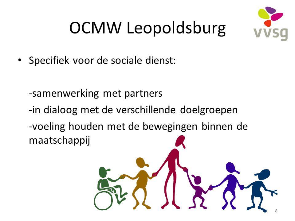 OCMW Leopoldsburg Specifiek voor de sociale dienst: -samenwerking met partners -in dialoog met de verschillende doelgroepen -voeling houden met de bew