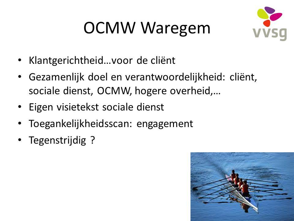 OCMW Waregem Klantgerichtheid…voor de cliënt Gezamenlijk doel en verantwoordelijkheid: cliënt, sociale dienst, OCMW, hogere overheid,… Eigen visieteks