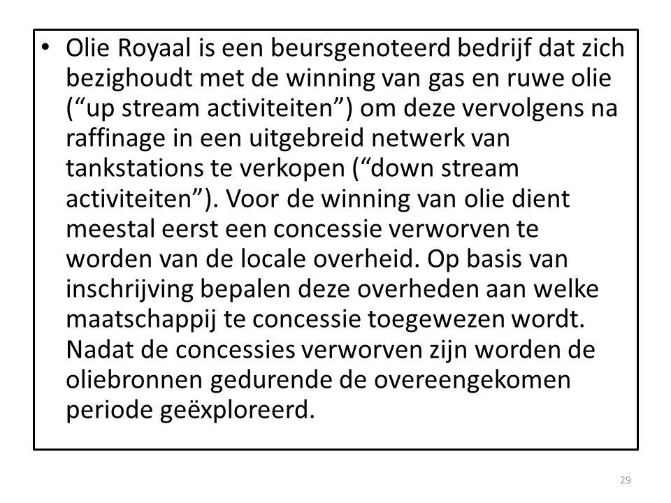 """Olie Royaal is een beursgenoteerd bedrijf dat zich bezighoudt met de winning van gas en ruwe olie (""""up stream activiteiten"""") om deze vervolgens na raf"""