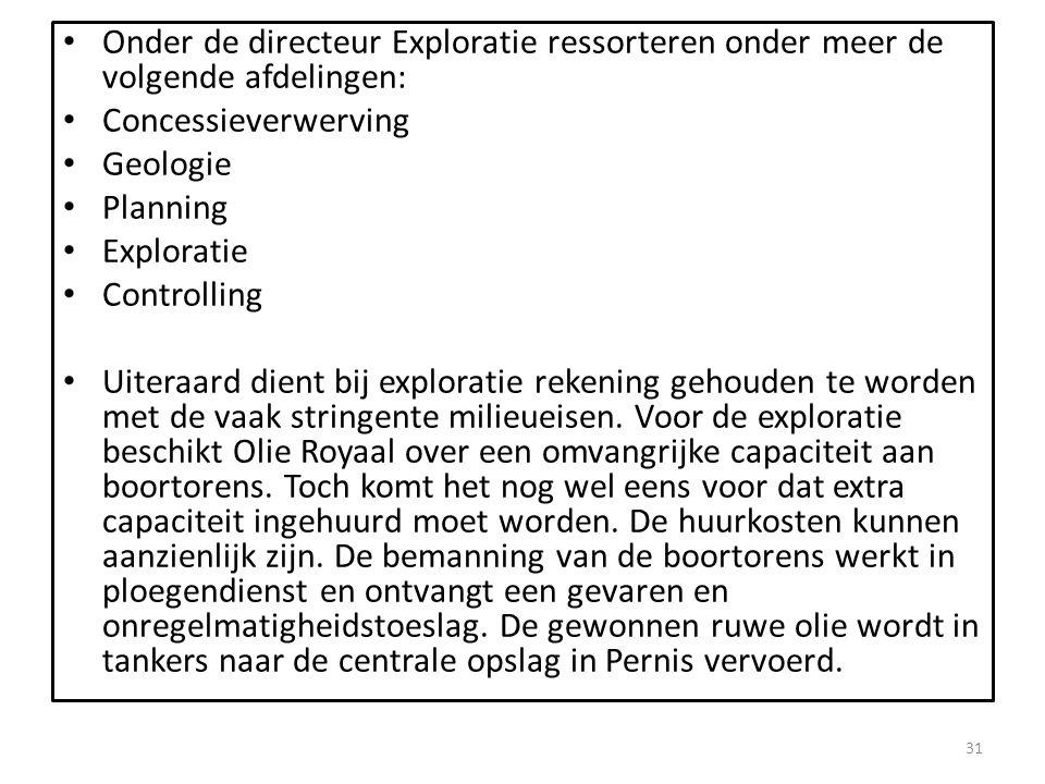 Onder de directeur Exploratie ressorteren onder meer de volgende afdelingen: Concessieverwerving Geologie Planning Exploratie Controlling Uiteraard di