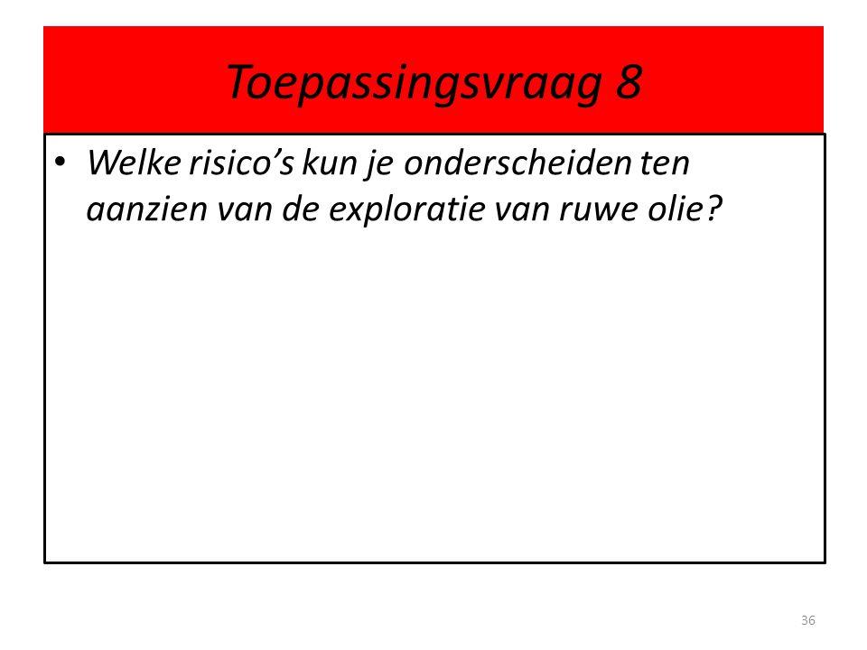 Toepassingsvraag 8 Welke risico's kun je onderscheiden ten aanzien van de exploratie van ruwe olie? 36