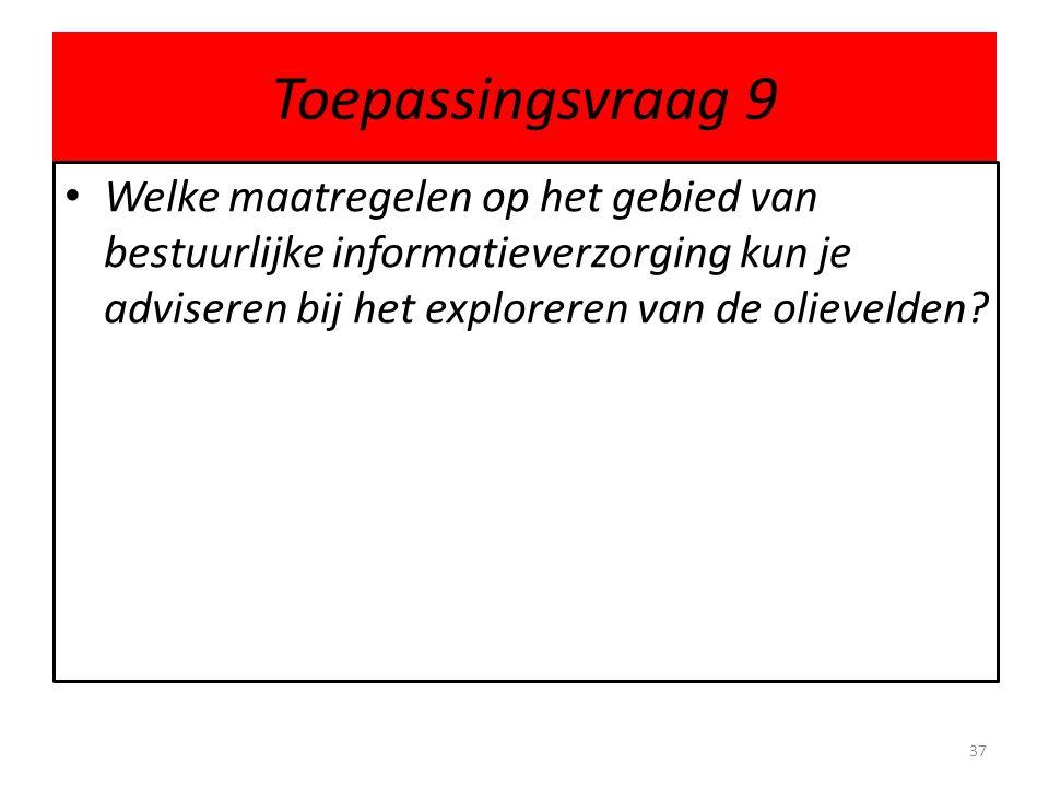 Toepassingsvraag 9 Welke maatregelen op het gebied van bestuurlijke informatieverzorging kun je adviseren bij het exploreren van de olievelden? 37