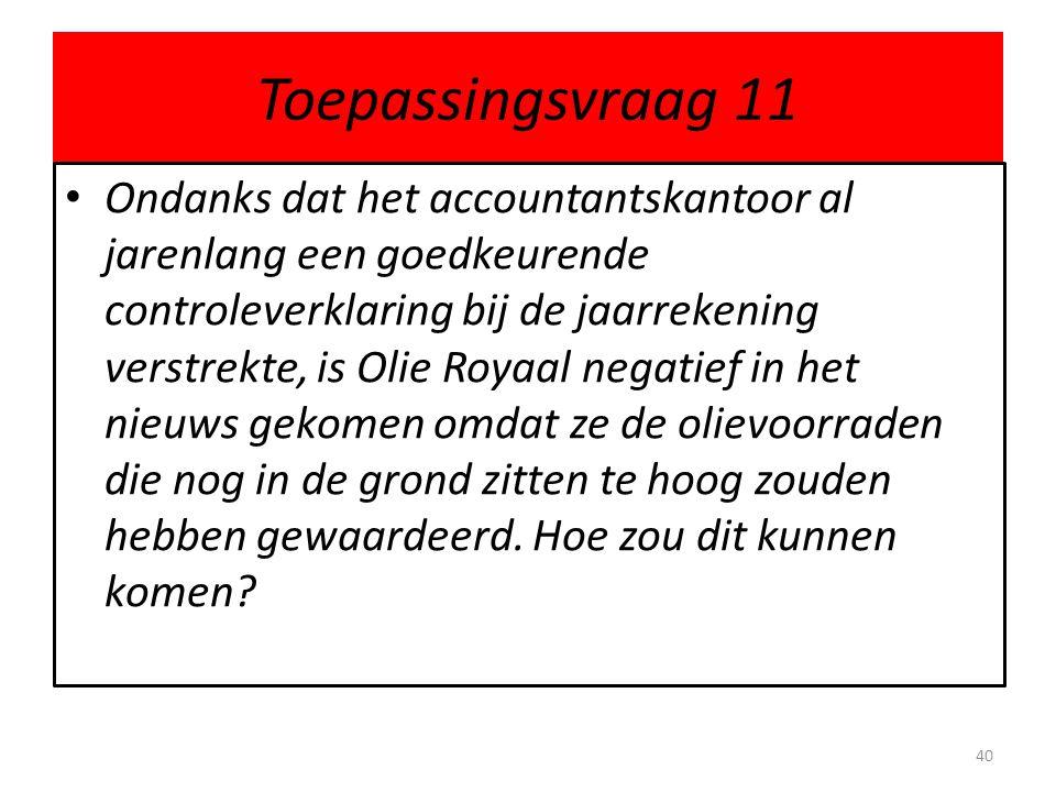 Toepassingsvraag 11 Ondanks dat het accountantskantoor al jarenlang een goedkeurende controleverklaring bij de jaarrekening verstrekte, is Olie Royaal