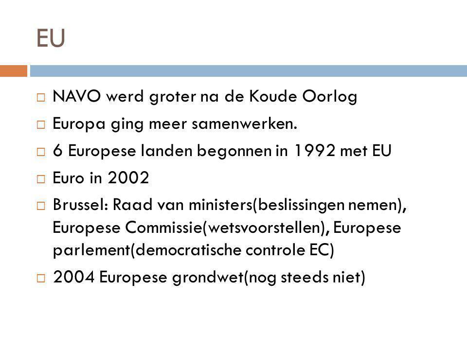 EU  NAVO werd groter na de Koude Oorlog  Europa ging meer samenwerken.