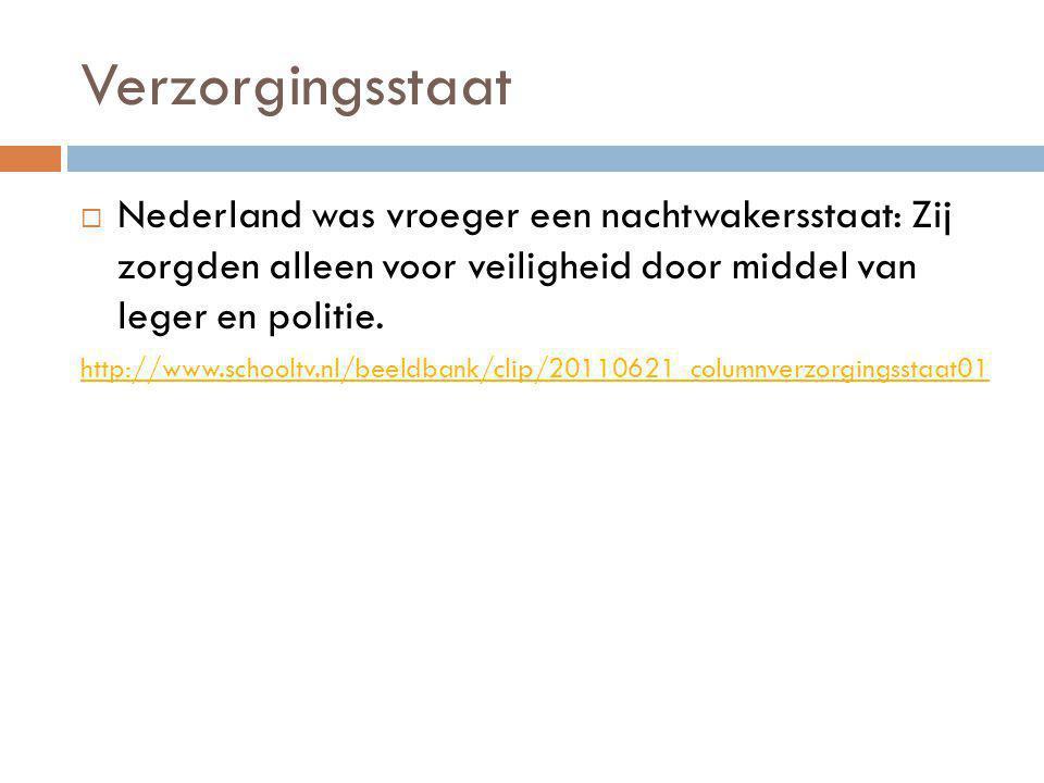 Verzorgingsstaat  Nederland was vroeger een nachtwakersstaat: Zij zorgden alleen voor veiligheid door middel van leger en politie.