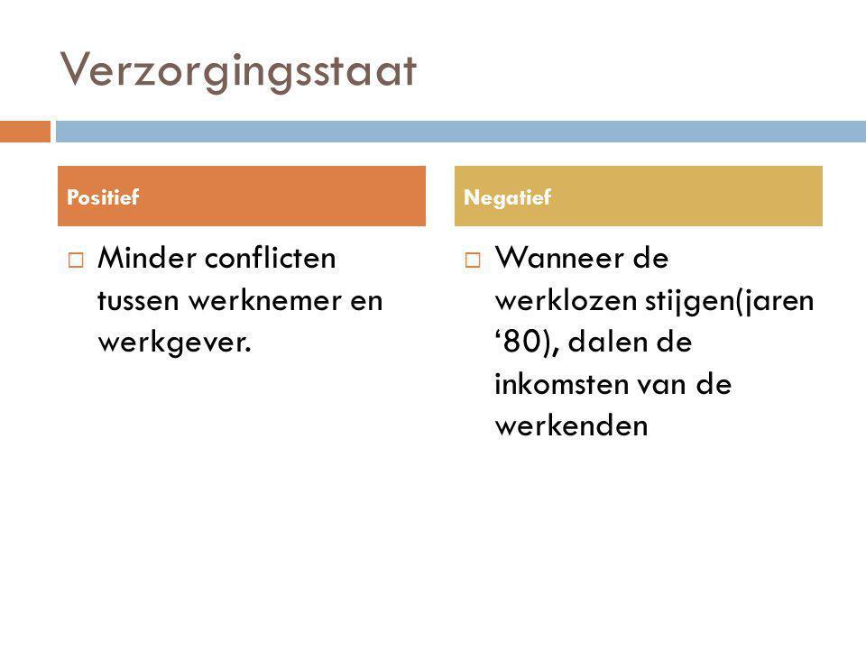 Verzorgingsstaat  Minder conflicten tussen werknemer en werkgever.