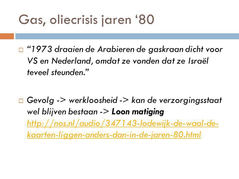 Gas, oliecrisis jaren '80  1973 draaien de Arabieren de gaskraan dicht voor VS en Nederland, omdat ze vonden dat ze Israël teveel steunden.  Gevolg -> werkloosheid -> kan de verzorgingsstaat wel blijven bestaan -> Loon matiging http://nos.nl/audio/347143-lodewijk-de-waal-de- kaarten-liggen-anders-dan-in-de-jaren-80.html http://nos.nl/audio/347143-lodewijk-de-waal-de- kaarten-liggen-anders-dan-in-de-jaren-80.html