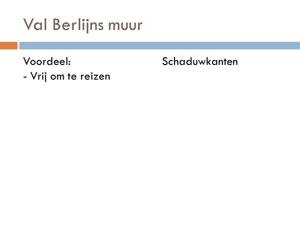 Val Berlijns muur Voordeel: - Vrij om te reizen Schaduwkanten