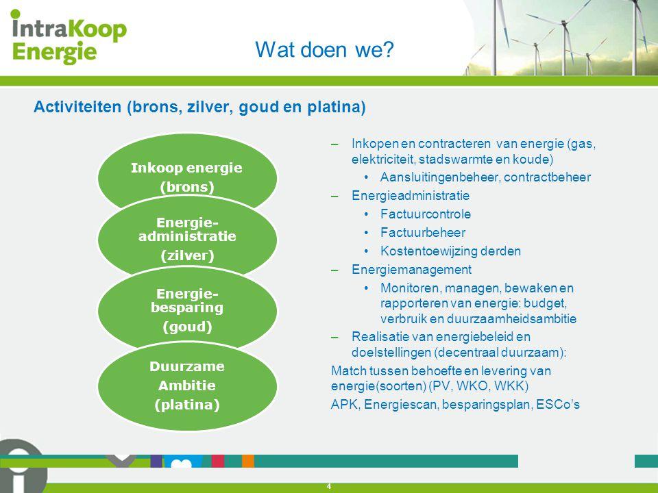 Activiteiten (brons, zilver, goud en platina) Wat doen we? 4 Inkoop energie (brons) Energie- administratie (zilver) Energie- besparing (goud) Duurzame