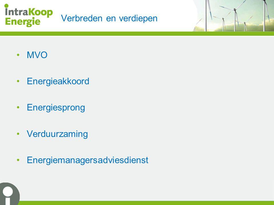 Verbreden en verdiepen MVO Energieakkoord Energiesprong Verduurzaming Energiemanagersadviesdienst