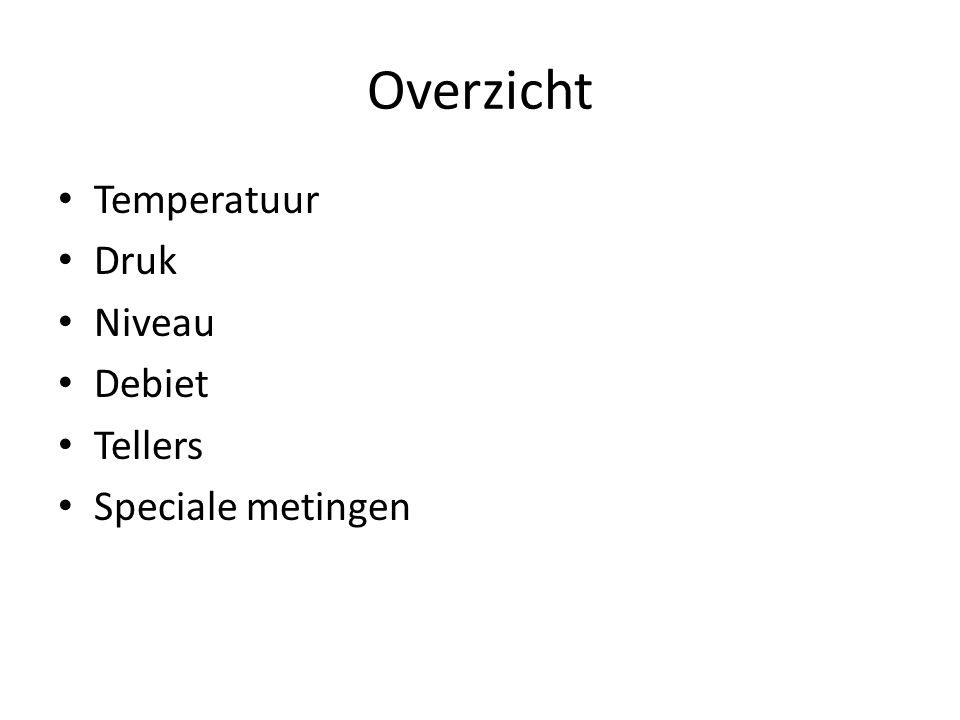 Overzicht Temperatuur Druk Niveau Debiet Tellers Speciale metingen